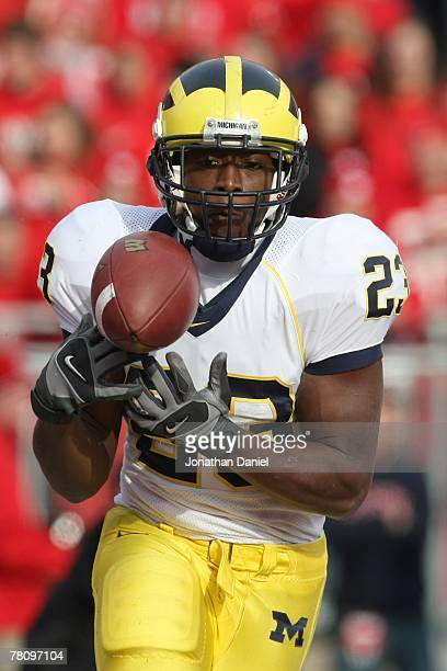 Carlos Brown of the Michigan Wolverines carries the ball during the game against the Wisconsin Badgers at Camp Randall Stadium on November 10 2007 in...