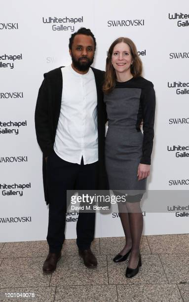 Carlos Bunga and Emily Butler attend a glamorous gala dinner as Francis Alys is celebrated as Whitechapel Gallery Art Icon with Swarovski on January...