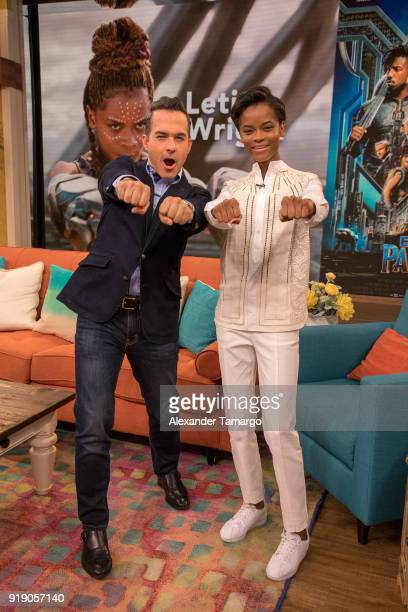 Carlos Calderon and Letitia Wright are seen on the set of Despierta America at Univision Studios to promote the film Black Panther on February 16...