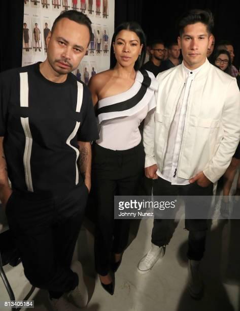 Carlos Campos Daneida Polanco and Chino Miranda attend the Carlos Campos NYFW Men's July 2017 at Skylight Clarkson Sq on July 11 2017 in New York City