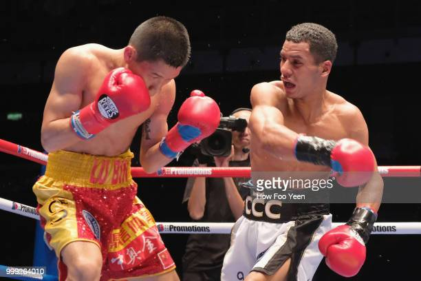 Carlos Canizales of Venezuela and Lu bin of China in action for WBA World Title on July 15 2018 in Kuala Lumpur Malaysia