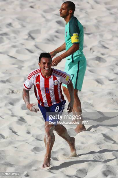 Carlos Carballo of Paraguay celebrates scoring a goal during the FIFA Beach Soccer World Cup Bahamas 2017 group C match between Paraguay and...