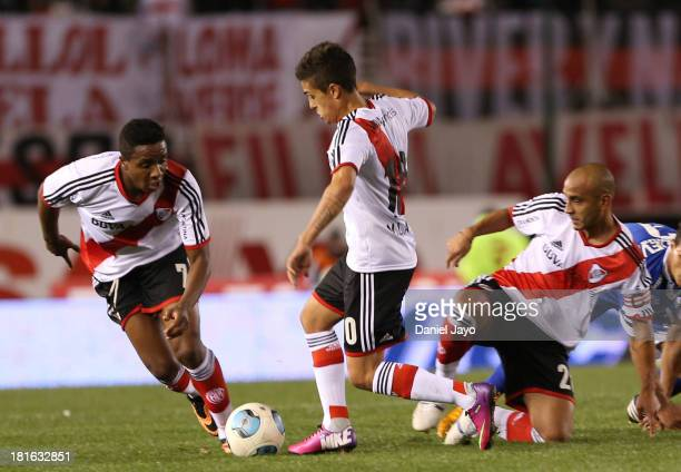 Carlos Carbonero Manuel Lanzini and Cristian Raul Ledesma of River Plate during a match between River Plate and All Boys as part of the Torneo...