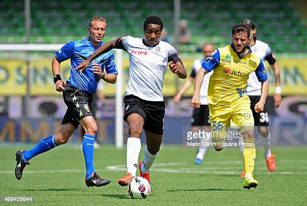 Carlos Carbonero of AC Cesena in action during the Serie A match between AC Cesena and AC Chievo Verona at Dino Manuzzi Stadium on April 12 2015 in...