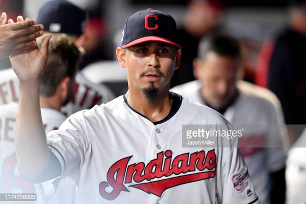 Carlos Carrasco of the Cleveland Indians celebrates after pitching during the sixth inning of a double header against the Minnesota Twins of the...