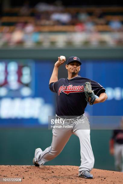Carlos Carrasco of the Cleveland Indians delivers a pitch against the Minnesota Twins during the game on August 1 2018 at Target Field in Minneapolis...
