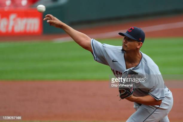 Carlos Carrasco of the Cleveland Indians delivers a pitch against the St. Louis Cardinals in the first inning at Busch Stadium on August 29, 2020 in...