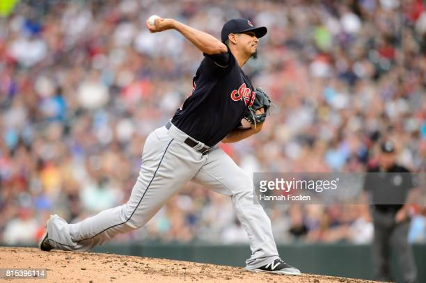 Carlos Carrasco of the Cleveland Indians delivers a pitch against the Minnesota Twins during the game on June 16 2017 at Target Field in Minneapolis...