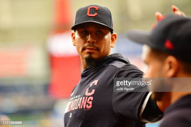 Carlos Carrasco of the Cleveland Indians heads to the bullpen to warm up during the third inning of a baseball game against the Tampa Bay Rays at...