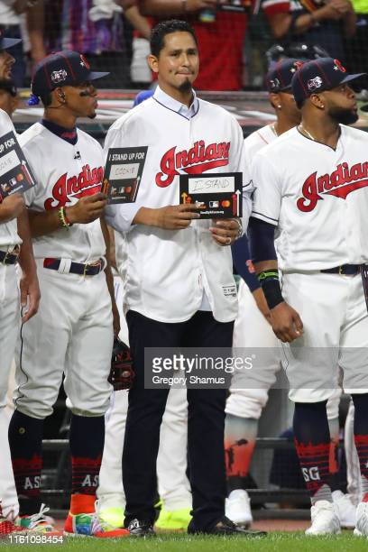 Carlos Carrasco of the Cleveland Indians participates in the Stand Up To Cancer during the 2019 MLB All-Star Game at Progressive Field on July 09,...
