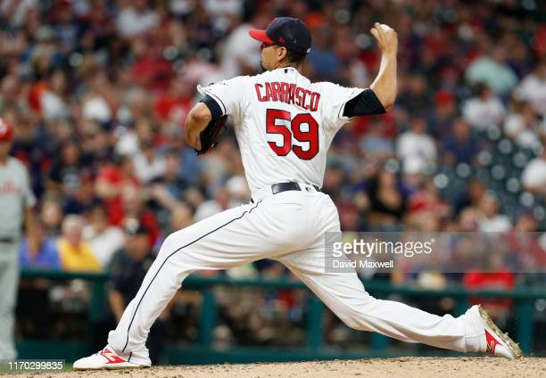 Carlos Carrasco of the Cleveland Indians pitches against J.T. Realmuto of the Philadelphia Phillies in the fifth inning at Progressive Field on...