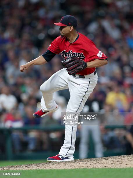Carlos Carrasco of the Cleveland Indians pitches against the Chicago White Sox during the eighth inning at Progressive Field on September 3, 2019 in...