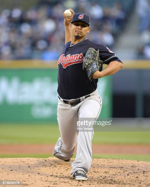 Carlos Carrasco of the Cleveland Indians pitches against the Chicago White Sox on April 22 2017 at Guaranteed Rate Field in Chicago Illinois The...