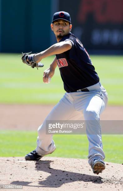Carlos Carrasco of the Cleveland Indians pitches against the Detroit Tigers during the second inning at Comerica Park on September 20 in Detroit...