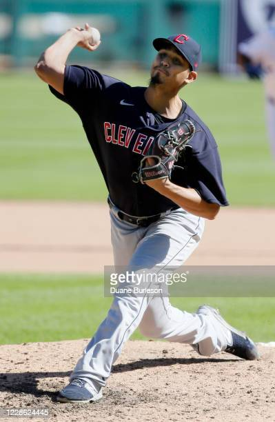 Carlos Carrasco of the Cleveland Indians pitches against the Detroit Tigers during the seventh inning at Comerica Park on September 20 in Detroit...
