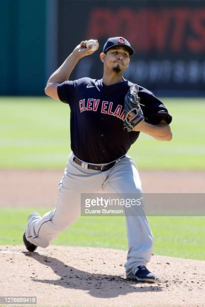 Carlos Carrasco of the Cleveland Indians pitches against the Detroit Tigers at Comerica Park on September 20 in Detroit Michigan