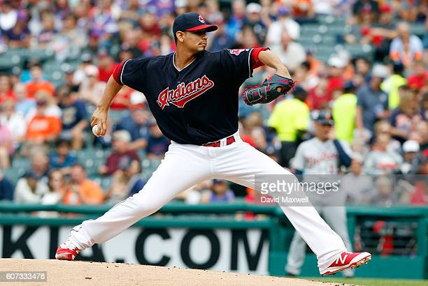 Carlos Carrasco of the Cleveland Indians pitches against the Detroit Tigers in the first inning at Progressive Field on September 17 2016 in...