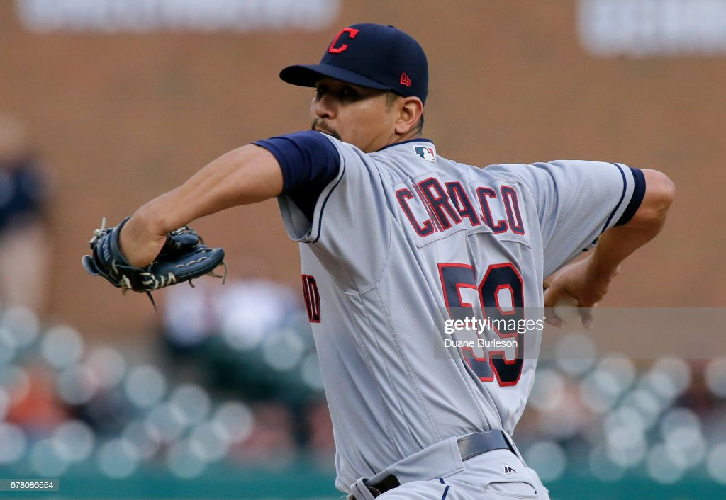 Carlos Carrasco #59 of the Cleveland Indians pitches against the Detroit Tigers during the second inning at Comerica Park on May 3, 2017 in Detroit, Michigan.