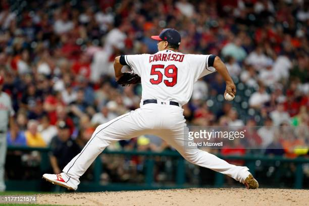 Carlos Carrasco of the Cleveland Indians pitches against the Philadelphia Phillies in the fifth inning at Progressive Field on September 22, 2019 in...
