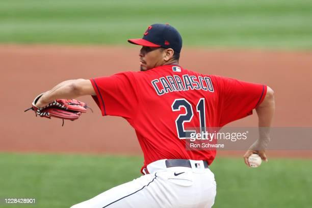 Carlos Carrasco of the Cleveland Indians pitches against the Kansas City Royals during the first inning at Progressive Field on September 09, 2020 in...