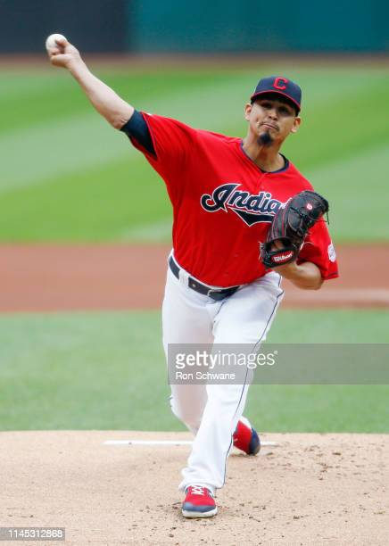 Carlos Carrasco of the Cleveland Indians pitches against the Oakland Athletics during the first inning at Progressive Field on May 20, 2019 in...