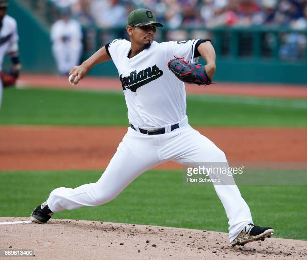 Carlos Carrasco of the Cleveland Indians pitches against the Oakland Athletics during the first inning at Progressive Field on May 29 2017 in...
