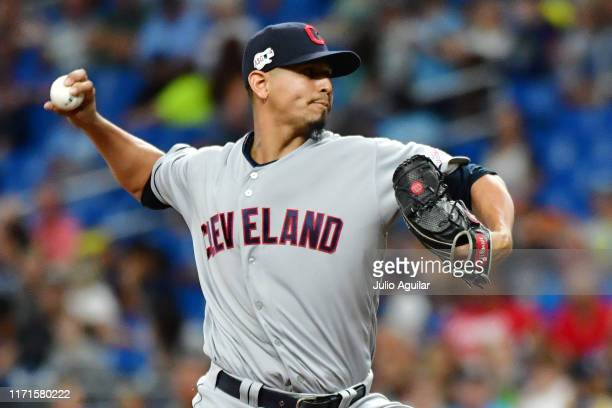 Carlos Carrasco of the Cleveland Indians pitches against the Tampa Bay Rays during the seventh inning of a baseball game at Tropicana Field on...
