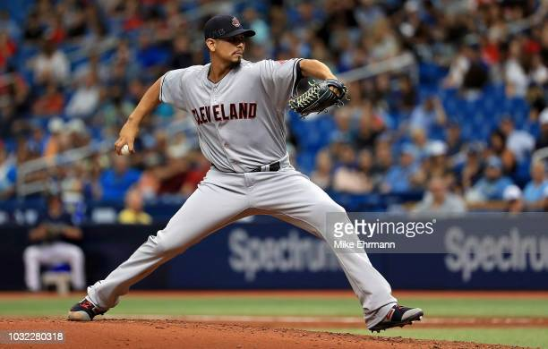 Carlos Carrasco of the Cleveland Indians pitches during a game against the Tampa Bay Rays at Tropicana Field on September 12 2018 in St Petersburg...