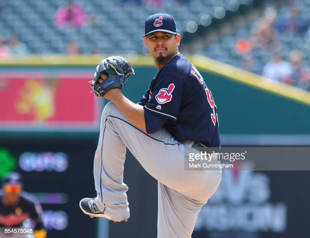 Carlos Carrasco of the Cleveland Indians pitches during game one of a double header against the Detroit Tigers at Comerica Park on September 1 2017...