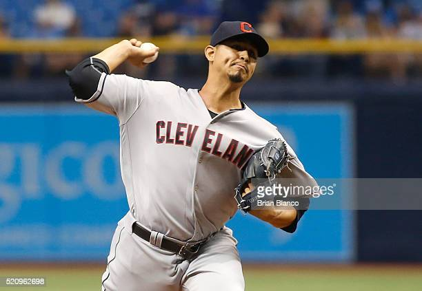 Carlos Carrasco of the Cleveland Indians pitches during the first inning of a game against the Tampa Bay Rays on April 13 2016 at Tropicana Field in...