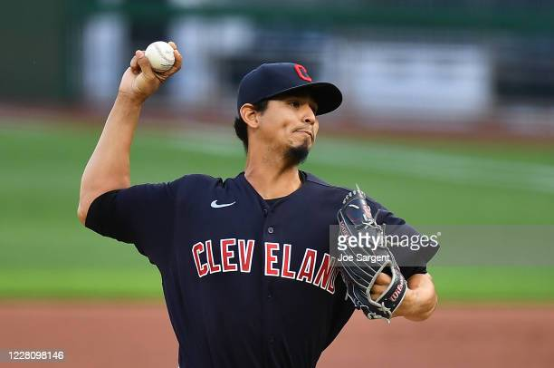 Carlos Carrasco of the Cleveland Indians pitches during the first inning against the Pittsburgh Pirates at PNC Park on August 18, 2020 in Pittsburgh,...