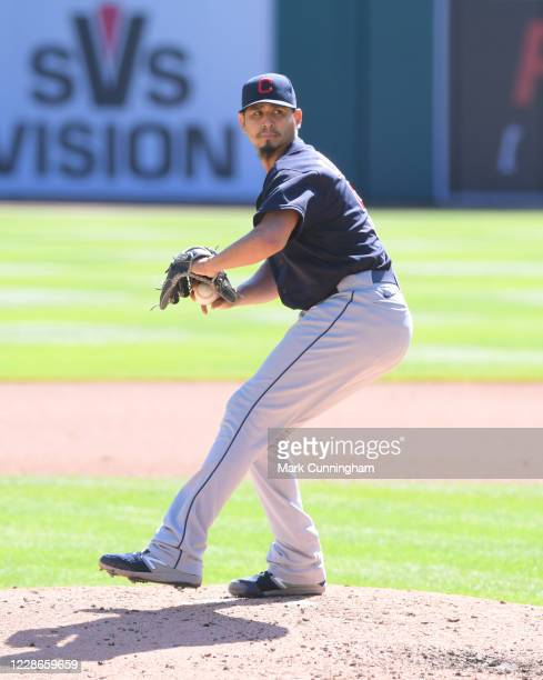 Carlos Carrasco of the Cleveland Indians pitches during the game against the Detroit Tigers at Comerica Park on September 20 2020 in Detroit Michigan...
