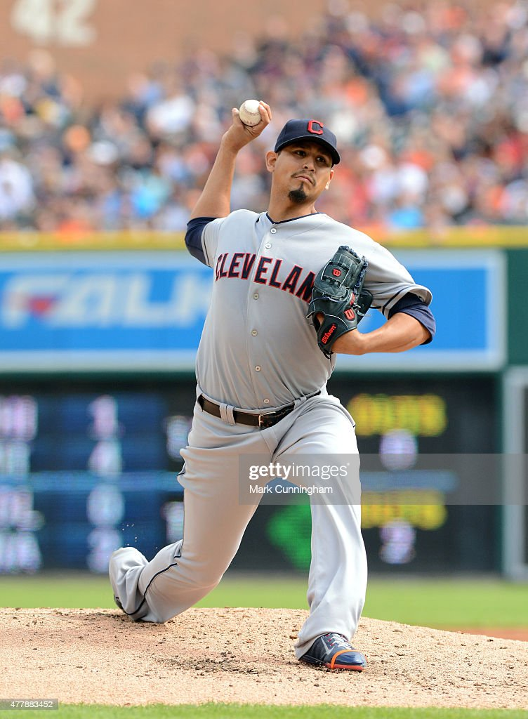 Carlos Carrasco #59 of the Cleveland Indians pitches during the game against the Detroit Tigers at Comerica Park on June 13, 2015 in Detroit, Michigan. The Indians defeated the Tigers 5-4.