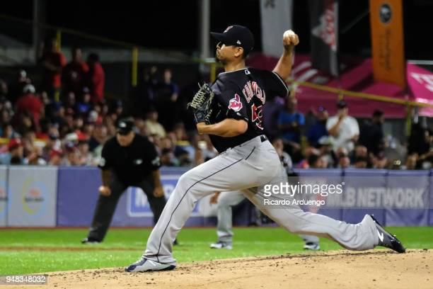 Carlos Carrasco of the Cleveland Indians pitches during the game against the Minnesota Twins at Hiram Bithorn Stadium on Wednesday April 18 2018 in...