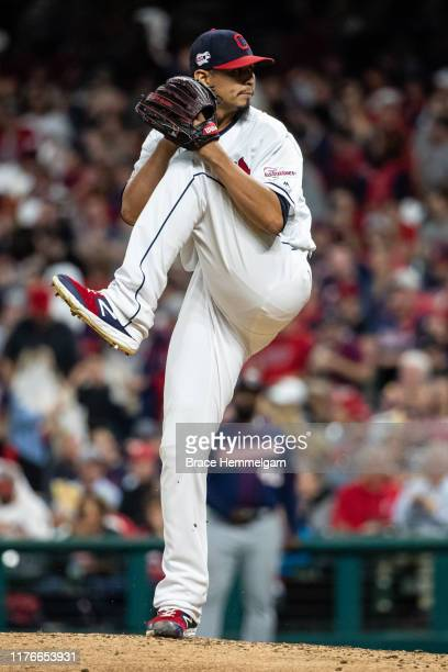 Carlos Carrasco of the Cleveland Indians pitches during the second game of a doubleheader against the Minnesota Twins on September 14, 2019 at...