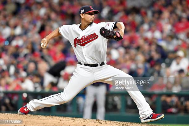 Carlos Carrasco of the Cleveland Indians pitches during the sixth inning of a double header against the Minnesota Twins of the second game at...
