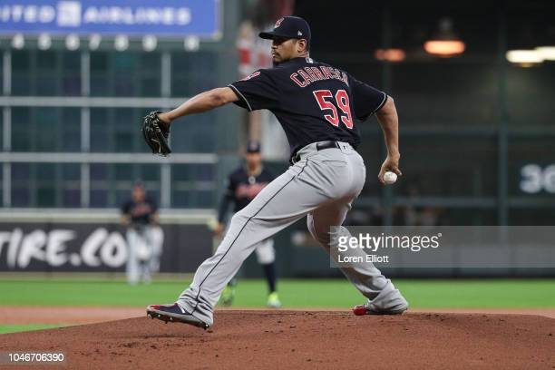 Carlos Carrasco of the Cleveland Indians pitches in the first inning during Game 2 of the ALDS against the Houston Astros at Minute Maid Park on...