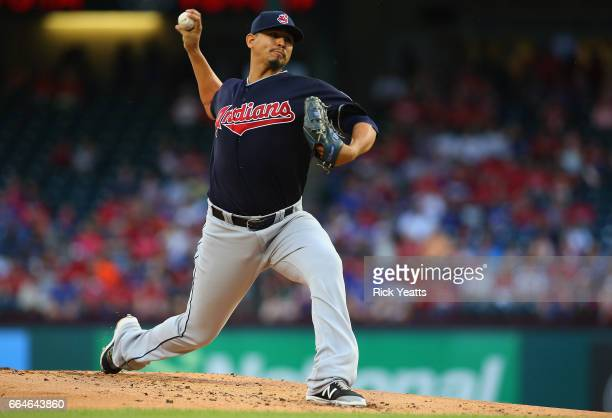 Carlos Carrasco of the Cleveland Indians pitches in the first inning against the Texas Rangers at Globe Life Park in Arlington on April 4 2017 in...