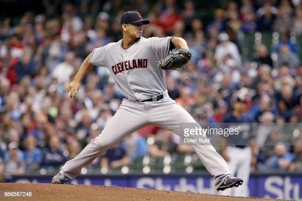 Carlos Carrasco of the Cleveland Indians pitches in the first inning against the Milwaukee Brewers at Miller Park on May 9 2018 in Milwaukee Wisconsin