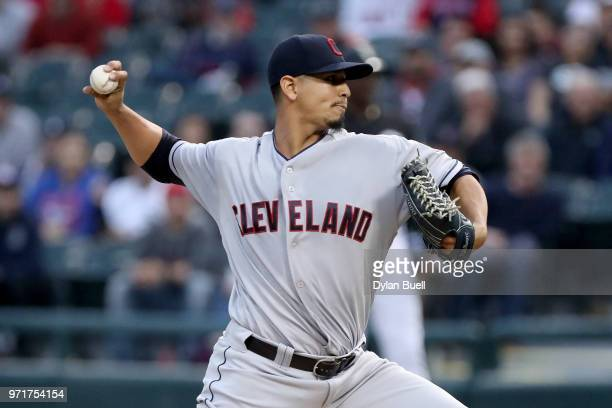Carlos Carrasco of the Cleveland Indians pitches in the first inning against the Chicago White Sox at Guaranteed Rate Field on June 11 2018 in...