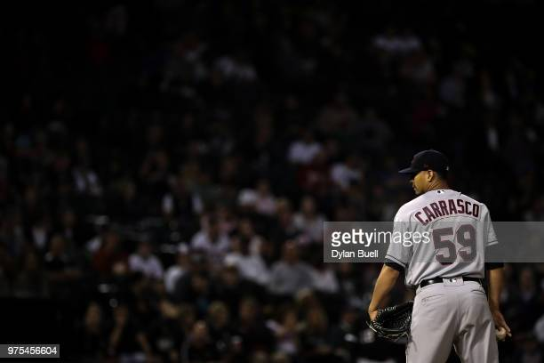 Carlos Carrasco of the Cleveland Indians pitches in the fourth inning against the Chicago White Sox at Guaranteed Rate Field on June 11 2018 in...