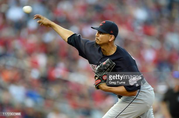 Carlos Carrasco of the Cleveland Indians pitches in the ninth inning against the Washington Nationals at Nationals Park on September 29, 2019 in...