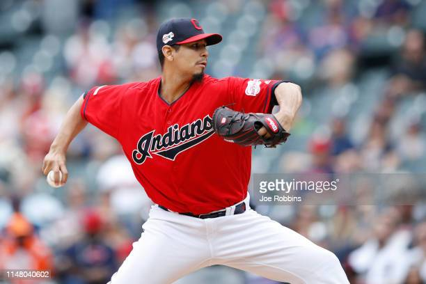 Carlos Carrasco of the Cleveland Indians pitches in the second inning against the Chicago White Sox at Progressive Field on May 9, 2019 in Cleveland,...