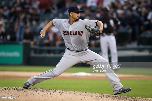 Carlos Carrasco of the Cleveland Indians pitches in the second inning against the Chicago White Sox at Guaranteed Rate Field on June 11 2018 in...