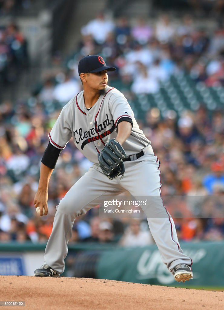 Carlos Carrasco #59 of the Cleveland Indians pitches while wearing a Cleveland Buckeyes Negro League Tribute uniform during game two of a double header against the Detroit Tigers at Comerica Park on July 1, 2017 in Detroit, Michigan. The Indians defeated the Tigers 4-1.