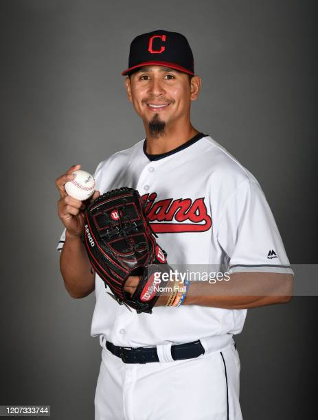 Carlos Carrasco of the Cleveland Indians poses during MLB Photo Day on February 19, 2020 in Goodyear, Arizona.