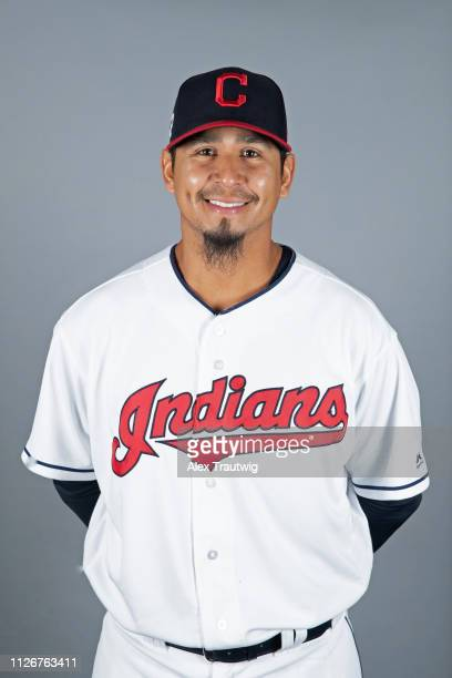 Carlos Carrasco of the Cleveland Indians poses during Photo Day on Thursday February 21 2019 at Goodyear Ballpark in Goodyear Arizona