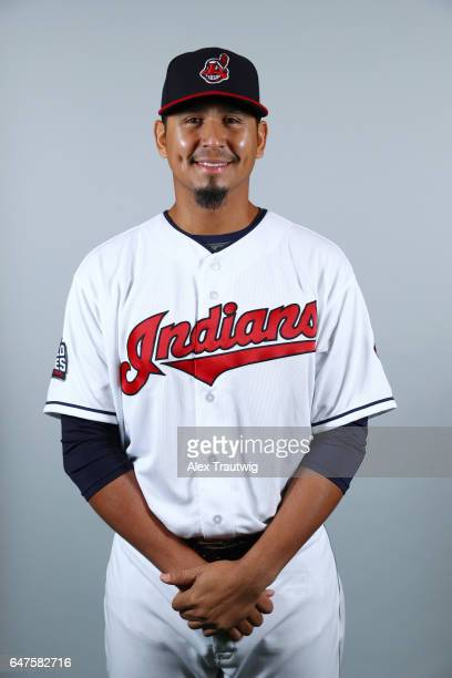 Carlos Carrasco of the Cleveland Indians poses during Photo Day on Friday February 24 2017 at Goodyear Ballpark in Goodyear Arizona