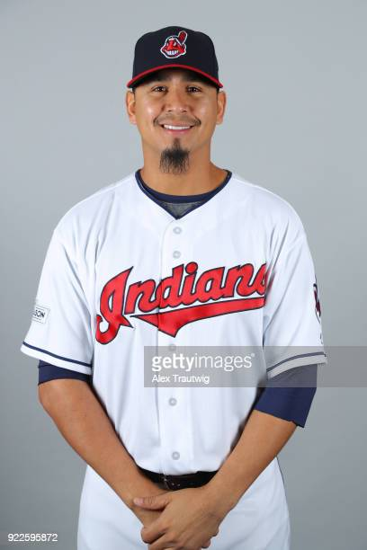 Carlos Carrasco of the Cleveland Indians poses during Photo Day on Wednesday February 21 2018 at Goodyear Ballpark in Goodyear Arizona