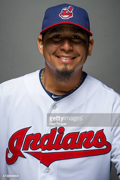 Carlos Carrasco of the Cleveland Indians poses for a portrait at Goodyear Ballpark on February 24 2014 in Goodyear Arizona